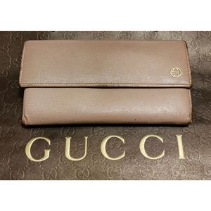 GUCCI Betty Mauve Continental Trifold Wallet